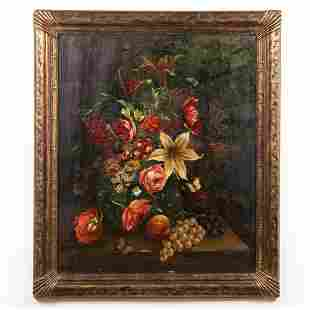 C. GOBL, CONTINENTAL FLORAL STILL LIFE PAINTING