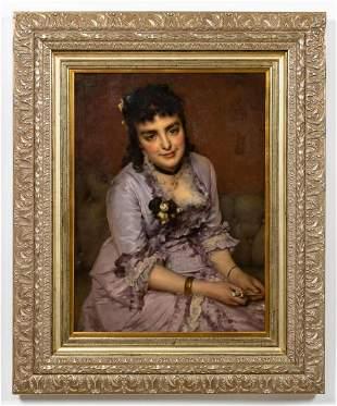 """CARL DIETHELM MEYER, """"PORTRAIT OF A LADY"""", O/C"""