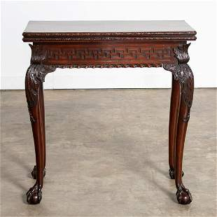 18TH C. GEORGE II FOLD TOP MAHOGANY GAMES TABLE