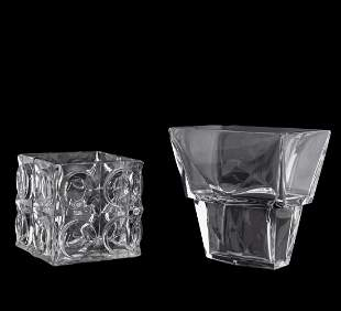 TWO BACCARAT GEOMETRIC COLORLESS CRYSTAL VESSELS