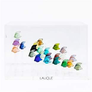 LALIQUE ART GLASS AQUARIUM, 24 COLORED FISH IN BOX