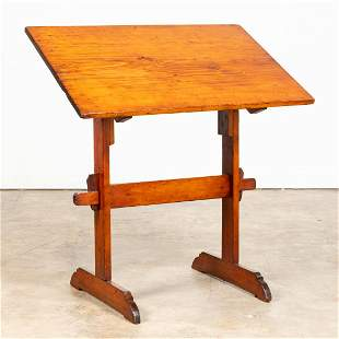FRENCH PINE ADJUSTABLE DRAFTING TABLE, C. 1900