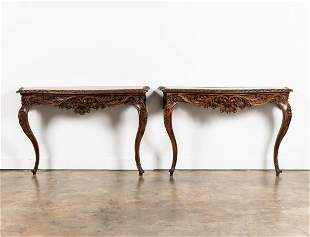 PR., 19TH C. ROCOCO STYLE CARVED WALNUT CONSOLES