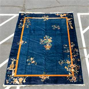 """HAND WOVEN CHINESE ART DECO RUG, 11' 9"""" X 9'"""