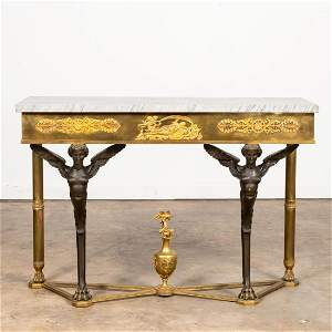 LATE 19TH C. EMPIRE STYLE BRONZE CONSOLE TABLE