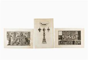 3 PCS PIRANESI ENGRAVINGS, FRIEZE AND SARCOPHAGI
