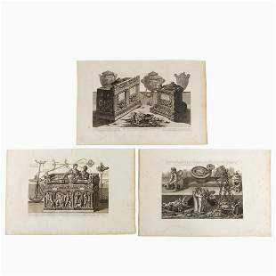 3 PCS PIRANESI ENGRAVINGS, CLASSICAL LAMPS & URNS