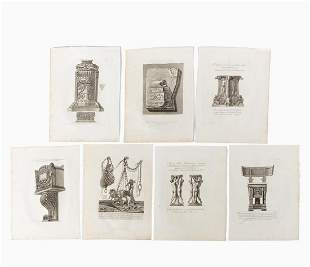 7 PCS GIOVANNI PIRANESI DECORATIVE ARTS ENGRAVINGS