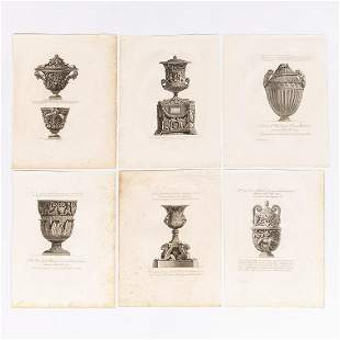 6 PCS, GIOVANNI PIRANESI CLASSICAL ENGRAVINGS