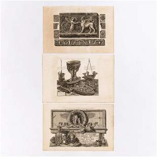 3 PCS GIOVANNI PIRANESI, ARCHITECTURAL ENGRAVINGS