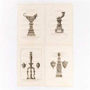 4 PCS GIOVANNI PIRANESI, CLASSICAL ENGRAVINGS