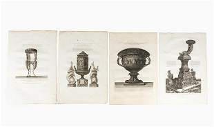 4 PCS, PIRANESI CLASSICAL DECORATIVE ART ENGRAVING