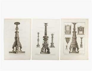 3 PCS, PIRANESI CLASSICAL ENGRAVINGS, CANDELABRUM