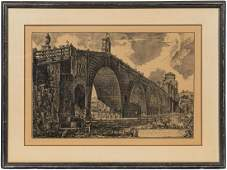 """AFTER PIRANESI, """"THE PONTE MOLLE"""" ETCHING, 1762"""