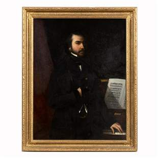 CONTINENTAL SCHOOL, PORTRAIT OF MUSICIAN, FRAMED