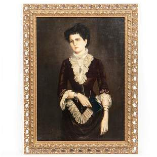 GERMAN PORTRAIT OF A LADY, OIL ON CANVAS, C. 1800s