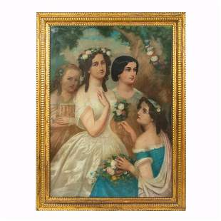CONTINENTAL SCHOOL, GROUP PORTRAIT, GILTWOOD FRAME