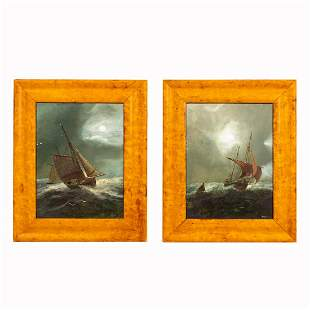 PAIR, CONTINENTAL SEASCAPE OIL PAINTINGS ON PANEL