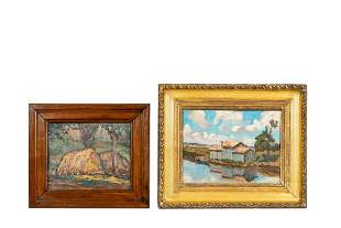 2 PCS, CONTINENTAL SCHOOL OIL PAINTINGS, FRAMED
