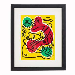 KEITH HARING POP ART LITHOGRAPH 1988, SIGNED