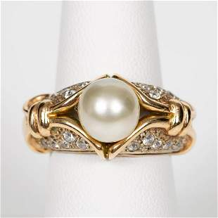 14K YELLOW GOLD & CULTURED PEARL STATEMENT RING