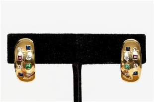 PAIR, 18K YELLOW GOLD & MULTI-STONE EARRINGS
