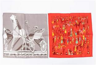 TWO HERMES SILK SCARVES, HORSE MOTIF