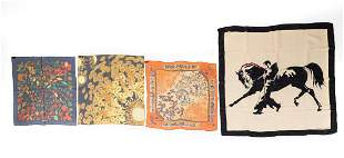 FOUR SILK & CHIFFON HERMES SCARVES
