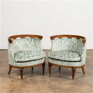PAIR, WALNUT & UPHOLSTERED LOUNGE CHAIRS