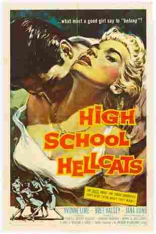 """HIGH SCHOOL HELLCATS"" 1958 ORIGINAL MOVIE POSTER"