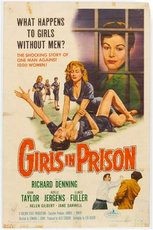 """GIRLS IN PRISON"" 1956 ORIGINAL MOVIE POSTER"
