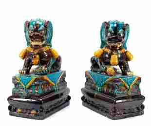 PAIR OF LARGE CHINESE BLUE CERAMIC GUARDIAN LIONS