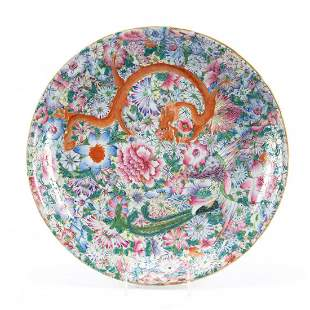 CHINESE ROUND 1000 FLOWERS & FIGURAL MOTIF CHARGER