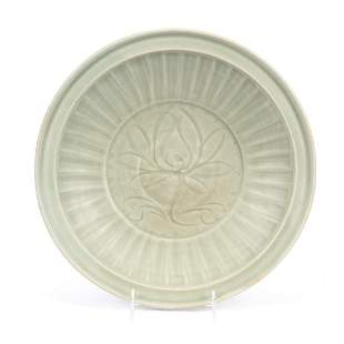 CHINESE CELADON GLAZED FLORAL CHARGER