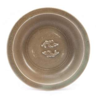 CHINESE SMALL CELADON SHALLOW MARRIAGE BOWL