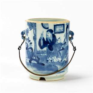 CHINESE BLUE & WHITE SMALL PORCELAIN POT W/ HANDLE