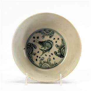 CHINESE SMALL OFF WHITE BOWL, BLUE FISH MOTIF