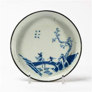 CHINESE BLUE & WHITE SAUCER WITH LANDSCAPE SCENE