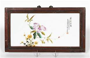 CHINESE PORCELAIN PLAQUE FLORAL AND LADYBUG