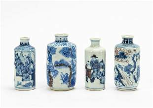 FOUR BLUE & WHITE CHINESE PORCELAIN SNUFF BOTTLES
