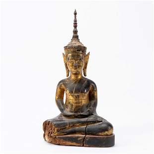 SOUTHEAST ASIAN GILTWOOD CROWNED BUDDHA SCULPTURE
