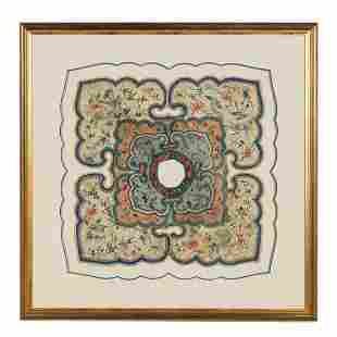 FRAMED CHINESE EMBROIDERED BIRD MOTIF COLLAR