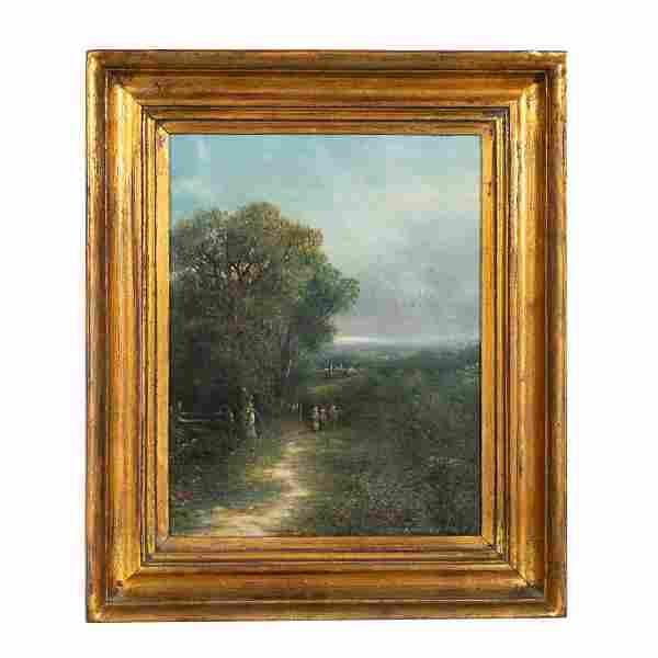 ENGLISH OIL ON CANVAS LANDSCAPE PAINTING, FRAMED