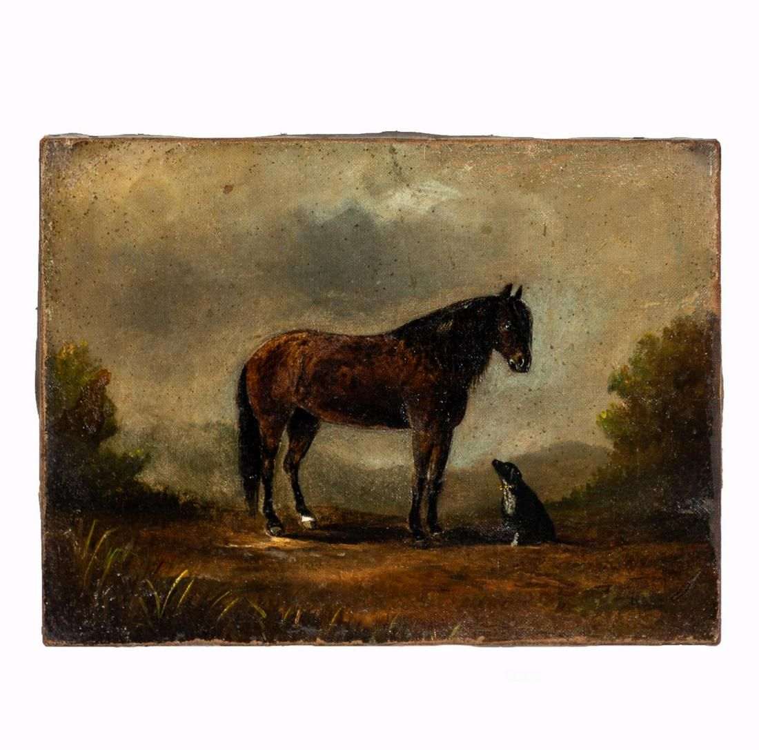 19TH CENTURY ENGLISH EQUESTRIAN PAINTING ON CANVAS