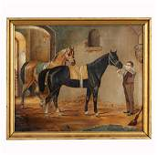 EQUESTRIAN PAINTING, HORSES & GROOM, OIL ON CANVAS