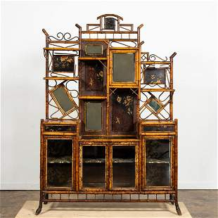 L. 19TH C. AESTHETIC JAPANNED & BAMBOO ETAGERE