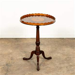19TH CENTURY INLAID TRAY ON CARVED PEDESTAL