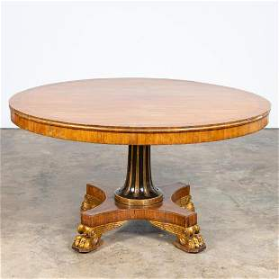 19TH C. PARCEL GILT & EBONIZED BREAKFAST TABLE