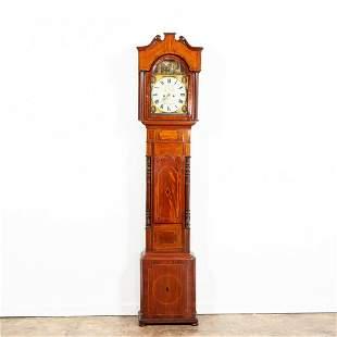 19TH C. SCOTTISH INLAID MAHOGANY TALL CASE CLOCK