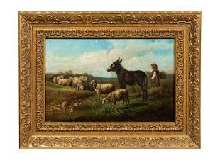 THOMAS SIDNEY COOPER, OIL ON CANVAS, FRAMED